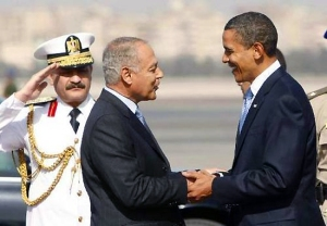 Egyptian Foreign Minister Ahmed Abul Gheit greets President Obama